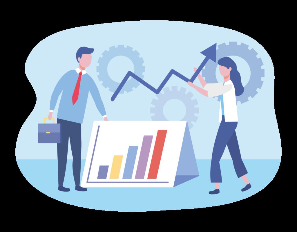 Illustrasjon av innsikt og tall i bedriften