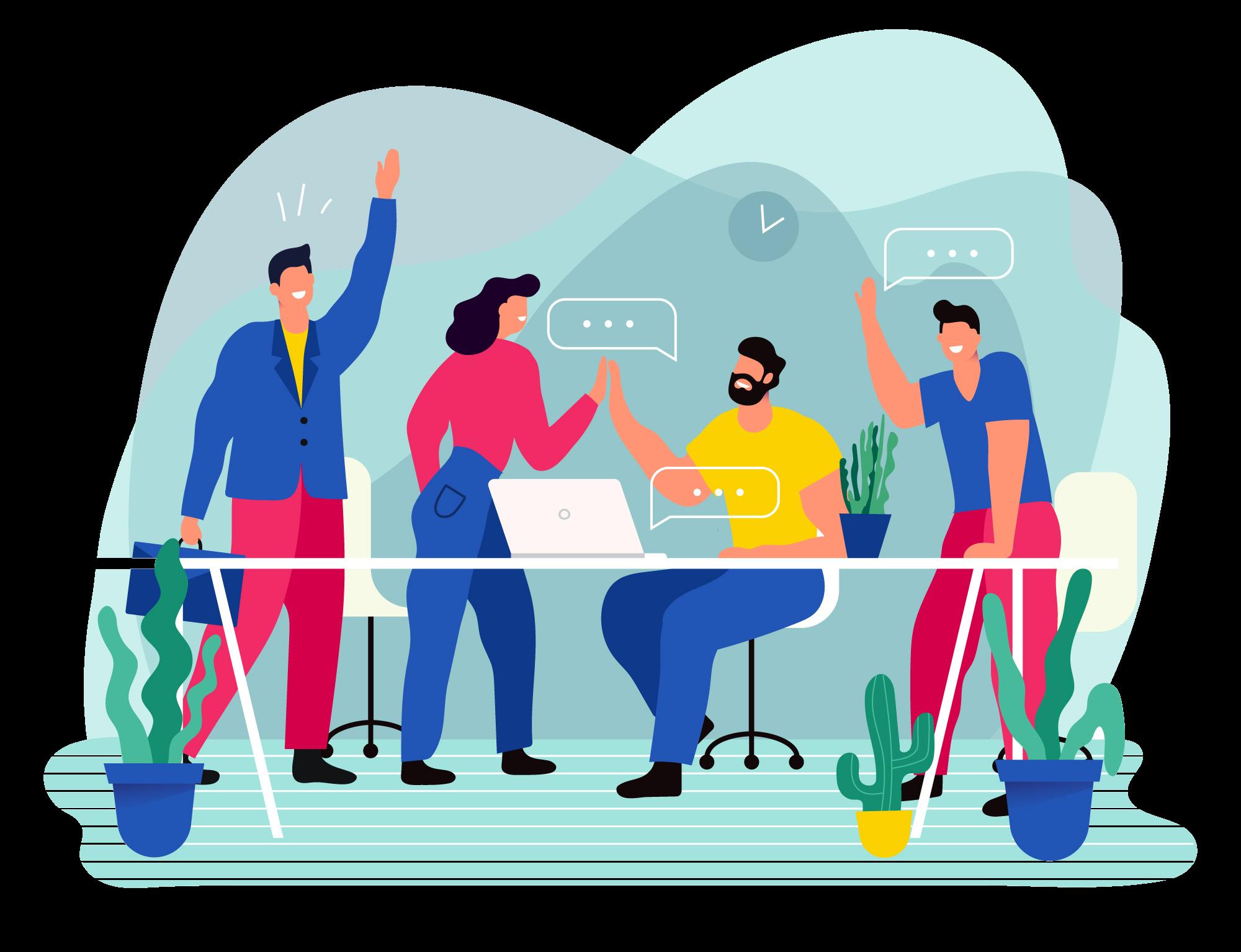 Illustrasjon av kommunikasjon og samhandling i bedrift